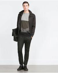 Zara   Black Mixed Fabric T-shirt for Men   Lyst