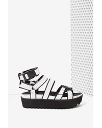 Nasty Gal - Black Intentionally Blank React Perforated Leather Sandal - Lyst