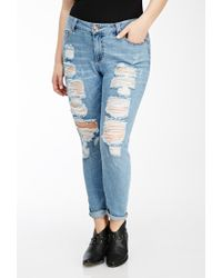 Forever 21 | Blue Plus Size Distressed Skinny Jeans | Lyst