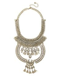 Leith - Metallic Chain Crescent Statement Necklace - Lyst