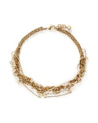 Lulu Frost | Metallic 'kinship' Safey Pin Twist Chain Pearl Necklace | Lyst