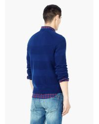 Mango | Blue Stripe Textured Sweater for Men | Lyst