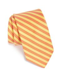 Ted Baker | Orange Stripe Cotton & Silk Tie for Men | Lyst