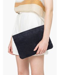 Mango - Blue Zipped Leather Clutch - Lyst