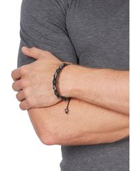 Nialaya | Black And Silver Skull And Crystal Bracelet for Men | Lyst