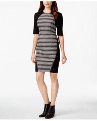 RACHEL Rachel Roy | Black Mixed-media Sheath Dress | Lyst