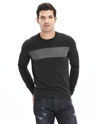 Banana Republic | Gray Marled-stripe Silk Cotton Cashmere Pullover for Men | Lyst