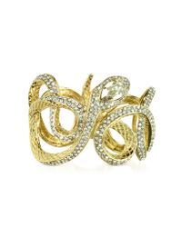 Roberto Cavalli | Metallic Serpent Metal Bracelet W/crystals | Lyst