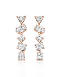 Kimberly Mcdonald - Metallic 18k Rose Gold Mixed Diamond Bar Earrings - Lyst