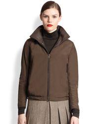 Akris Brown Reversible Nappa Leather Silk Jacket