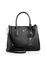 Prada | Black Saffiano Cuir Small Double Bag | Lyst