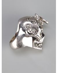 Alexander McQueen | Metallic Skull And Bee Ring | Lyst