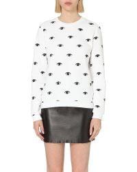 KENZO | White Eye-print Cotton-jersey Sweatshirt | Lyst