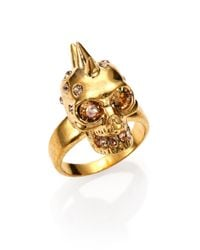 Alexander McQueen | Metallic Punk Skull Crystal Ring/goldtone for Men | Lyst
