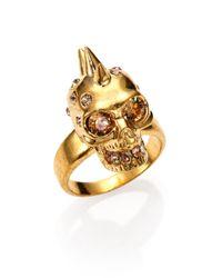 Alexander McQueen - Metallic Punk Skull Crystal Ring/goldtone for Men - Lyst