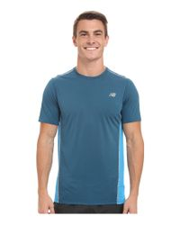 New Balance | Blue Accelerate Short Sleeve for Men | Lyst