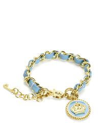 Juicy Couture | Blue Status Coin Leather & Chain Bracelet | Lyst
