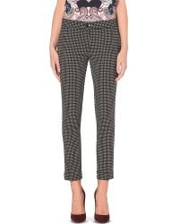 Etro | Black Cigarette Jacquard Trousers | Lyst