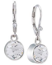 Carolee | Metallic Silver-tone Crystal Drop Earrings | Lyst