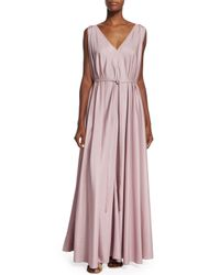 The Row - Pink Silk Organza Self-belt Gown - Lyst