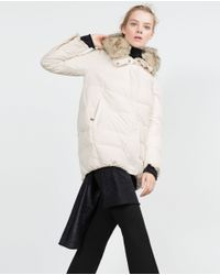 Zara | Natural Quilted Anorak | Lyst