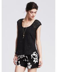 Banana Republic | Black Floral Net Lace Top | Lyst