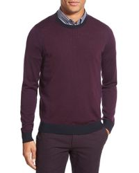 Ted Baker   Red 'lewcat' Crewneck Merino Wool Sweater for Men   Lyst