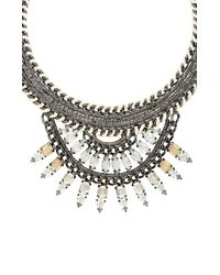 BCBGMAXAZRIA | Metallic Woven Chain Embellished Fan Statement Necklace | Lyst