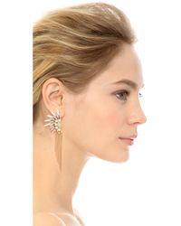 Adia Kibur - Crystal Fringe Earrings - Black/green/gold - Lyst