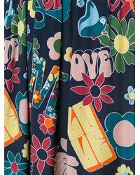 Love Moschino - Blue Hippy Love Print Skirt - Lyst