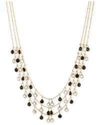 Anne Klein - Black Gold-Tone Jet Stone And Glass Crystal Three-Row Necklace - Lyst