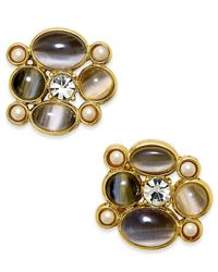 kate spade new york | Gray Gold-tone Stone And Crystal Stud Earrings | Lyst