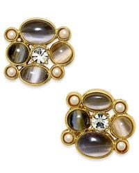 Kate Spade | Gray Gold-tone Stone And Crystal Stud Earrings | Lyst