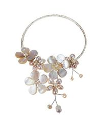 Aeravida | Multi Flower Pink Pearl Cluster Choker Wrap Necklace | Lyst