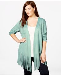 Soprano - Green Plus Size Faux-suede Fringe Top - Lyst
