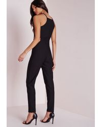 Missguided - Keyhole Cut Out Waist Jumpsuit Black - Lyst