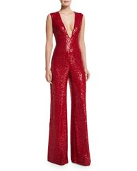Naeem Khan - Red Sleeveless V-neck Sequin Jumpsuit - Lyst