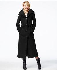 Calvin Klein | Black Belted Maxi Coat | Lyst