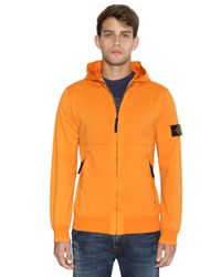 Stone Island | Orange Garment Dyed Light Fleece Zip Sweatshirt for Men | Lyst