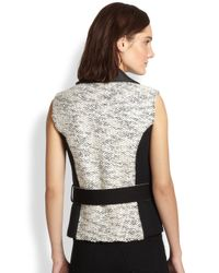 Sachin & Babi - Black Architect Faux Leather-Trimmed Tweed-Paneled Vest - Lyst