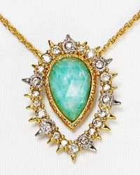 "Alexis Bittar - Metallic Elements Crystal Studded Spur Framed Amazonite Doublet Pendant Necklace, 16"" - Lyst"