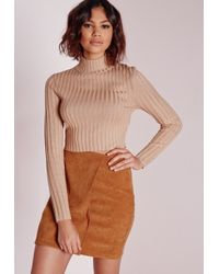 Missguided | Natural Long Sleeve Turtle Neck Knitted Crop Jumper Camel | Lyst