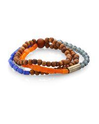 DSquared² | Brown Triple Bead Bracelet for Men | Lyst