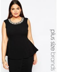 Club L - Black Plus Peplum Top With Embellished Neckline - Lyst