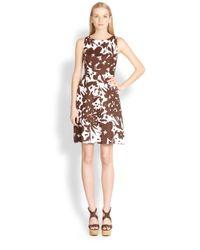 Michael Kors - Brown Floral Linen Dress - Lyst
