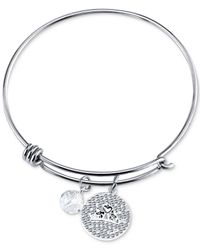Disney | Metallic Princess Tiara Crystal Charm Bracelet In Stainless Steel | Lyst