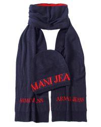 Armani Jeans Blue Hat & Scarf Box Set for men
