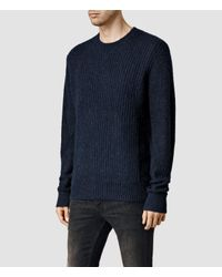 f1e0276d6257a Lyst - AllSaints Montall Crew Jumper in Blue for Men