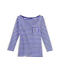Petit Bateau | Blue Women's 3/4 Length Sleeved, Striped T-shirt In Slub Jersey | Lyst