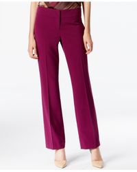 Nine West | Purple Trouser-leg Flat-front Dress Pants | Lyst